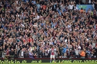 Aston Villa's Andreas Weimann, centre, celebrates his side's third goal against Manchester City in Birmingham yesterday. Photo / AP