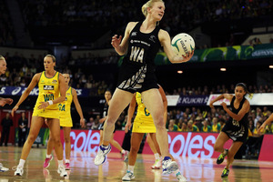 Laura Langman of New Zealand attempts to catch the ball during the Constellation Cup match between the Australia Diamonds and the New Zealand Silver Ferns. Photo / Getty Images.
