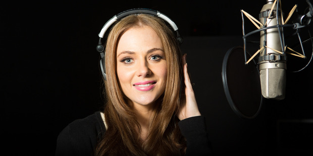 Jessica Marais during a live recording at Sound Firm studio at Fox Studios in Sydney. Photo / Gaye Gerard