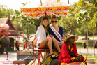 Sophie Hopes (left), daughter of Paul Henry, with fellow Miss Universe NZ contestant Mariah Te Whana in Thailand.