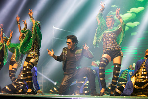 Bollywood superstar Shahrukh Khan performs during his Khan's Temptation Reloaded show. Photo / Brett Phibbs