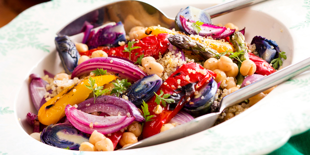 Quinoa, chickpea and Char-grilled Vegetables. Photo / Babiche Martens
