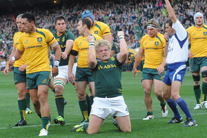 Adriaan Strauss of the Springboks celebrates after scoring a try during the match between South Africa and Australia at DHL Newlands. Photo / Getty Images