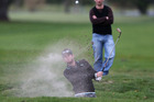 Josh Geary plays from a bunker in the final round of the Carrus Open at the Tauranga Golf Club yesterday. Photo / Joel Ford