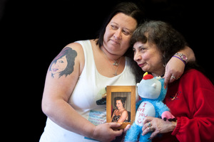 Darlene Fiveash, left, holds a picture of her daughter Annalese Bacon with Annalese's grandmother Joan Bacon after a coronial inquest into her death.
