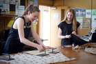 Students Bernadette Boland and Sarah Norman and Nicola Samson work on their entries. Photo / Natalie Slade