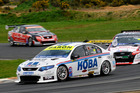 Shane van Gisbergen and Alex Davison in action at Hampton Downs during the V8 SuperTourers round.Pictures / Geoff Ridder