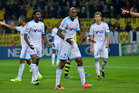 Marseille's Rod Fanni, centre and his team Borussia Dortmund. Photo / Getty Images