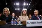 Caroline Kennedy (centre) at the Senate committee hearing on her nomination as US Ambassador to Japan.Picture / AP