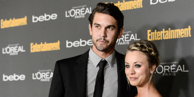 Kaley Cuoco, right, and Ryan Sweeting at the 2013 Entertainment Weekly Pre-Emmy Party in Los Angeles. Photo / AP