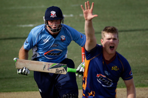 Jimmy Neesham appeals for the wicket of Martin Guptill.