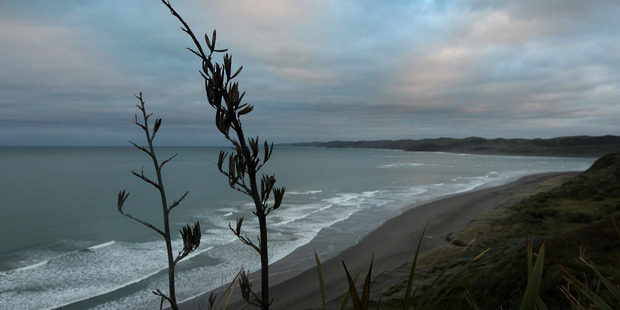 Looking down over the sweep of Ngarunui Beach (Ocean Beach) near the Waikato coastal settlement of Raglan. Photo / Alan Gibson