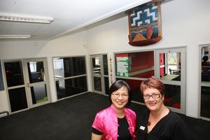 Tauranga Girls' College principal Pauline Cowens, right, and Mandarin teacher Vivian Ting.