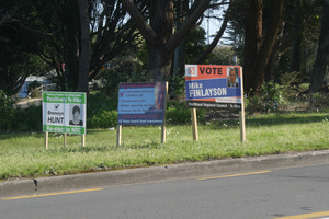 Election signs have popped up all over the Far North, most of them illegal. Photo / Peter Jackson