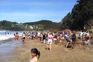 Hundreds were at Hot Water Beach. Photo / Willie Lochore