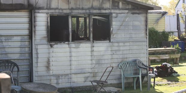 A burnt-out garage on Cameron Cres, Masterton, where 44-year-old Archie Aihe Huirama Ormsby junior died after a fire during the night.