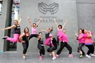 Zumba instructors prepare for the Party in Pink at the Hawke's Bay Opera House in Hastings, to raise money for breast cancer research. Photo / Paul Taylor