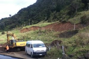 Just one of the slips on Runaruna Rd, North Hokianga, after last week's heavy rain. Photo / FNDC