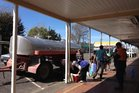 A tanker brings water from outside the town supply to Raetihi residents yesterday. Photo / John Chapman
