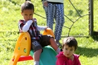 Serena Tohu's kids Beau, 3, and Khalia, 4, are devastated after someone stole their see-saw from their front yard. Photo / Michael Cunningham