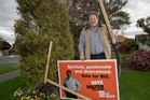 Napier mayoral candidate Bill Dalton is having to replace his signs that have been damaged by vandals. Photo / Glenn Taylor