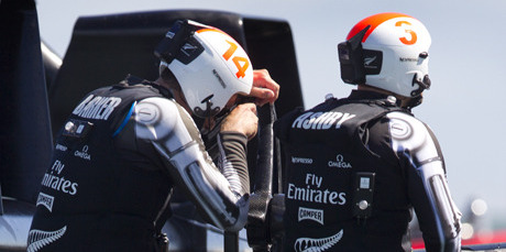 Dean Barker is inconsolable after losing to Oracle Team USA in the final race of the 34th America's Cup. Photo / Brett Phibbs