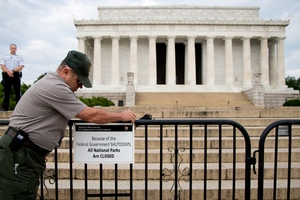 About 800,000 federal workers have stayed home for a second day, closing many US monuments and parks. Photo / AP