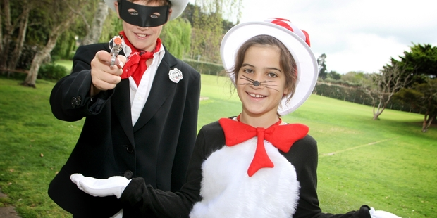 Lone Ranger Ben Conder, 11 and Cat inthe Hat Harriet Yorston 9, dressed to impress for the festival day.