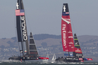 Oracle Team USA and Emirates Team NZ doing battle in the 34th America's Cup.