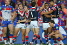 Michael Jennings of the Roosters celebrates scoring a try with his team mates during the NRL Preliminary Final match between the Sydney Roosters and the Newcastle Knights. Photo / Getty Images.