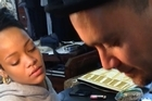 Rihanna getting Traditional Tattoo (moko) by Inia Taylor & Tiki Taane SUPPLIED 9th Oct 2013