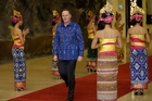 Prime Minister John Key sports his Balinese-designed shirt at an Apec dinner for leaders. Photo / AP