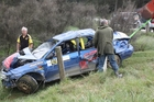 LUCKY ESCAPE: The rally driver of this Subaru was lucky to avoid more serious injuries after he rolled down a bank at the 2013 New Zealand Rally Championship on Saturday. PHOTO/SUPPLIED