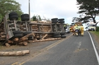 The log truck that crashed off State Highway 1 north of Waiharara on Monday, hot on the heels of a police warning that the speed of log trucks was under scrutiny. Photo / Petrina Hodgson