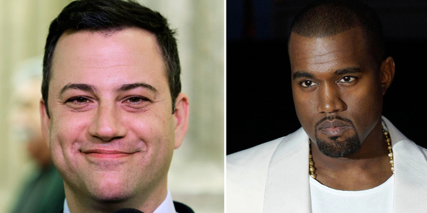 Jimmy Kimmel, left, has quashed a beef with Kanye West during an awkward interview on late night TV. Photo / AP