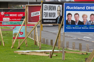 Local body elections billboards in Auckland City. Photo / Richard Robinson