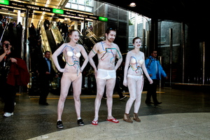 Generation Zero members promoting the Congestion-Free Network at Britomart recently.