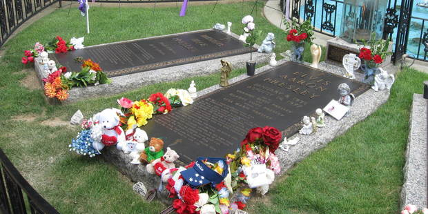 The final resting place of Elvis Presley on the grounds at Graceland. Photo / Creative Commons