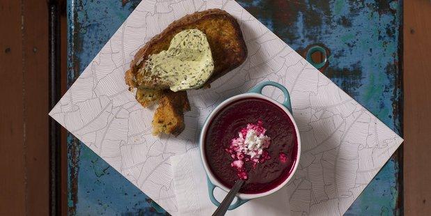 Zucchini bread and Beetroot soup at Honeytrap on Karangahape Road.