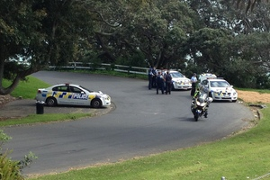 The scene were the police officer was stabbed in the face at Bastion Point. Photo / Dean Purcell