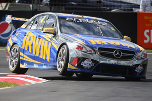 Lee Holdsworth driving the #4 Irwin Racing Mercedes hits the curb during a practice. Photo / Getty Images