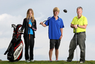 Shania, Jordan and Dave Cooke all won their finals at the Tauranga Golf Club on Saturday. Photo / John Borren