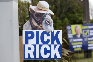 Tauranga City Council candidate Rick Curach sparked up his signs with animals.  Photo / Joel Ford