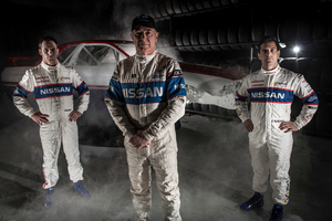 Past and present Nissan drivers Michael Caruso (left), Jim Richards and Daniel Gaunt.