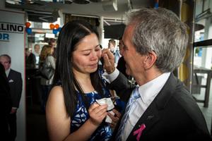 John Palino wipes away a tear from fiancee Rose Li's cheek. Photo / Michael Craig