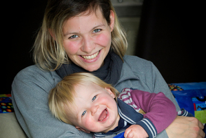 Au pair Rebecca Rohner with 15-month-old Hamish Leach. Photo / Sarah Ivey