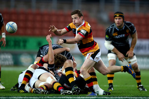 Brad Weber of Waikato passes the ball. Photo / Getty Images
