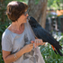 Judy Bailey has a close encounter with a red-tailed black cockatoo. Photo / Greg Bowker