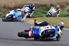 Australian Robbie Bugden crashes just in front of superbikes rival Craig Shirriffs during last season's New Zealand Superbike Championships. It was not enough to stop Bugden claiming his fifth Kiwi crown. Photos/Andy McGechan, BikesportNZ.com