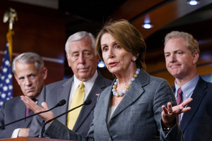 House Minority Leader Nancy Pelosi and House Democratic leaders discuss the government shutdown and their disagreement with Speaker of the House John Boehner. Photo / AP